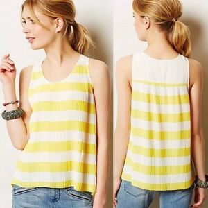 Anthropologie Maeve Citron Pleated Top 12 Yellow